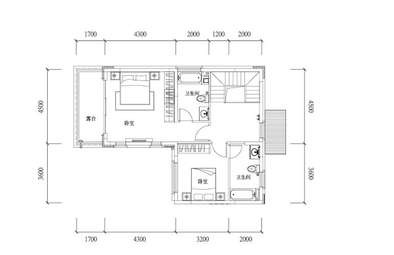 温泉山谷 B3户型二层 三室两厅三卫一厨 建面136㎡