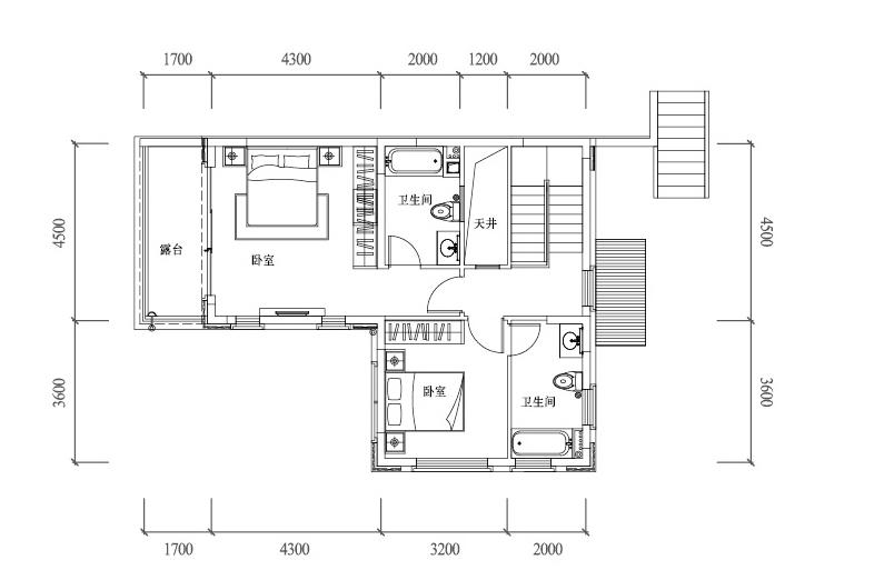温泉山谷 B1户型二层 三室两厅三卫一厨 建面130㎡