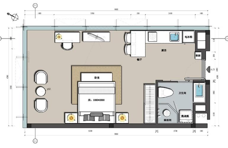 海南国际创意港二期 1#部分户型平面图 建面:54.47㎡
