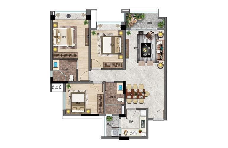 景业白鹭洲 3房2厅2卫 建面104㎡