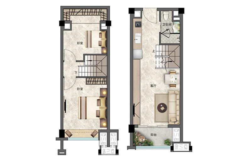 景业白鹭洲 2房2厅1卫 建面48㎡