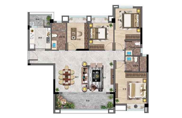 景业白鹭洲 4房2厅3卫 建面125㎡