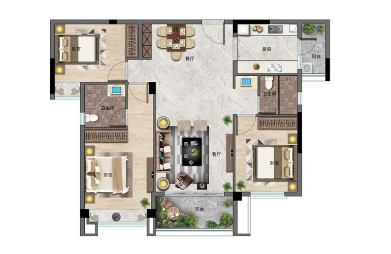景业白鹭洲 3房2厅2卫 建面102㎡