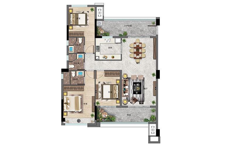 景业白鹭洲 3房2厅3卫 建面128㎡