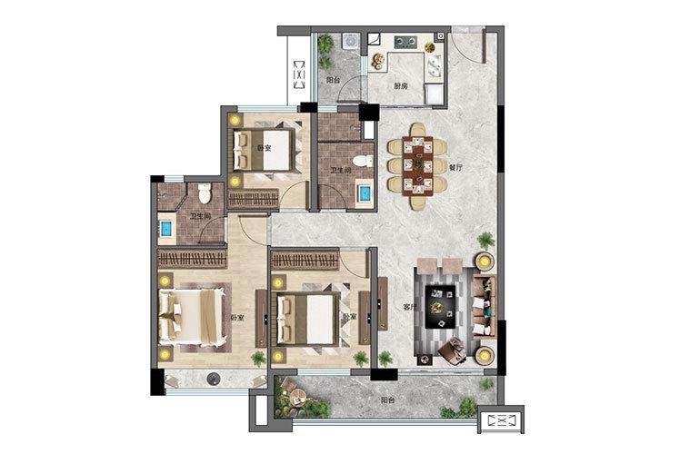 景业白鹭洲 3房2厅2卫 建面113㎡