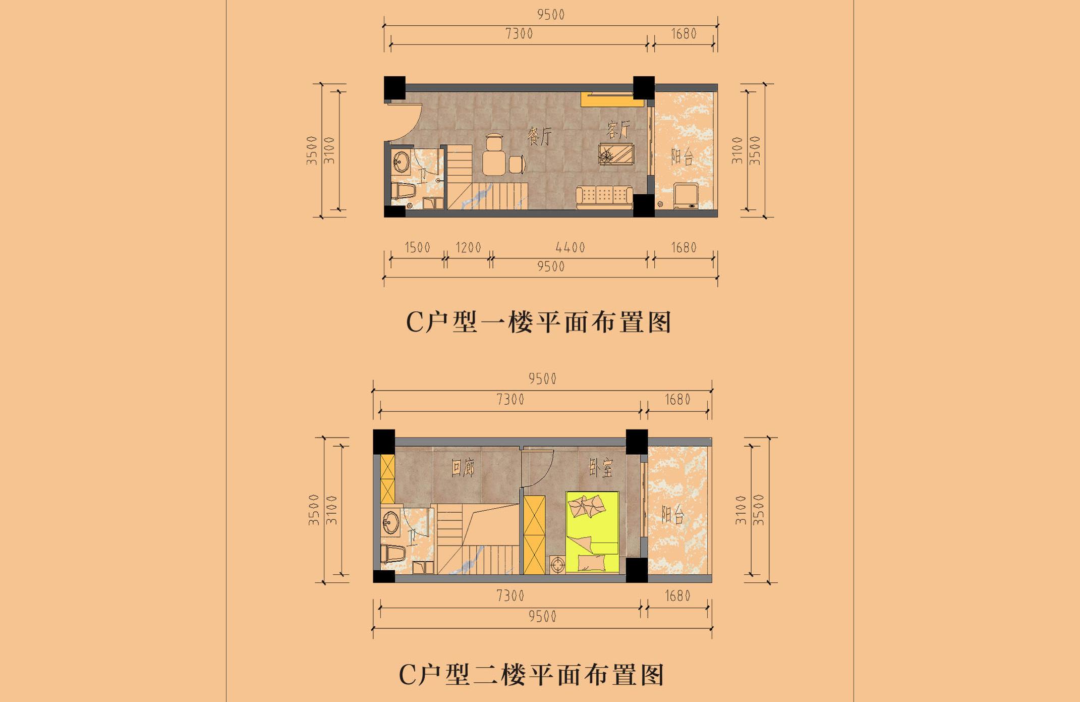 吉利大厦 C户型 1室1厅2卫1厨 建面36㎡