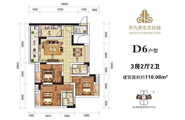 天九养生文化城 D6户型 3房2厅2卫 建面110㎡
