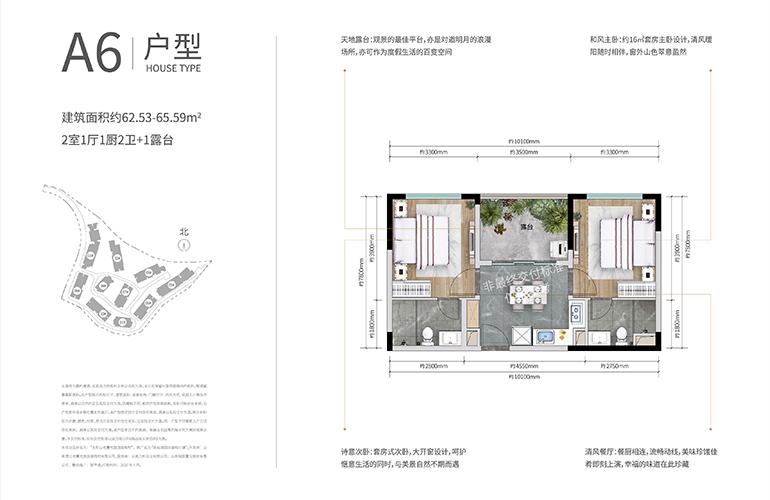 万科抚仙湖别墅 合院A6户型 两室一厅两卫一厨 建面62-65㎡