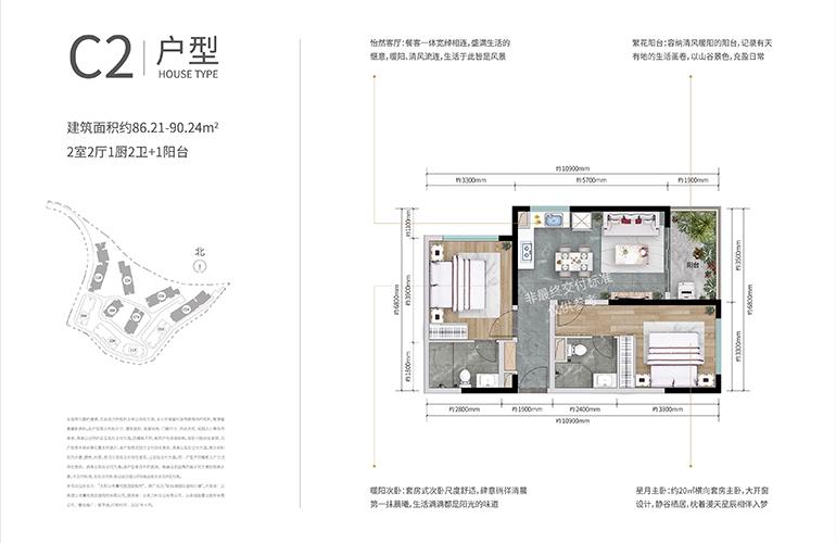 万科抚仙湖别墅 合院C2户型 两室两厅两卫一厨 建面86-90㎡