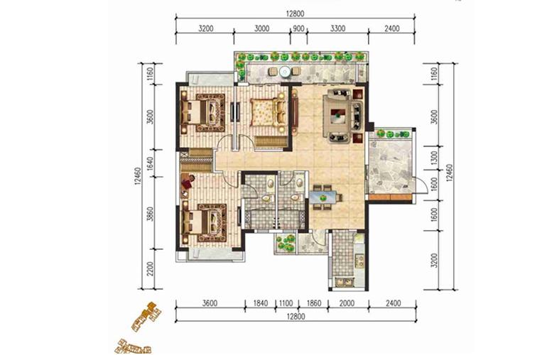 现代文苑 B户型 三房两卫两厅 建面:121㎡