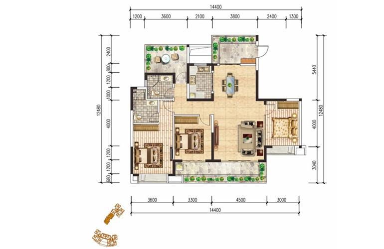 现代文苑 C户型 三房两厅两卫 建面:142㎡