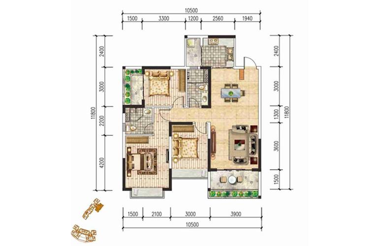 现代文苑 A户型 三房两卫两厅 建面:113㎡