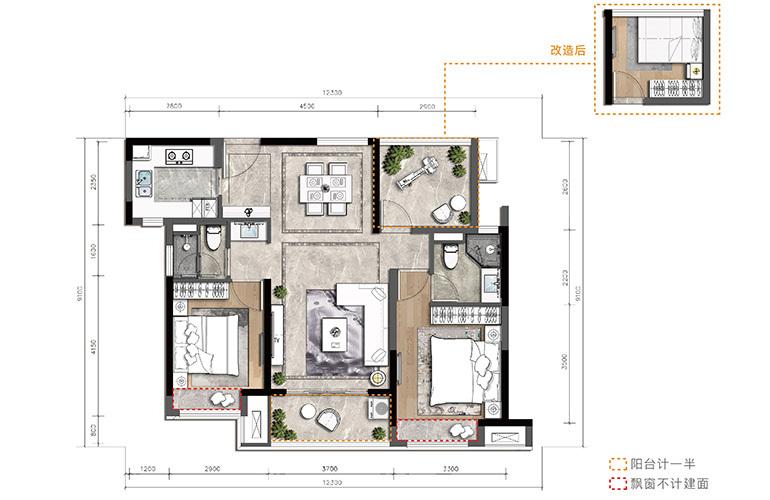 金湾宝龙城 A户型 3室2厅2卫1厨 建筑面积93㎡