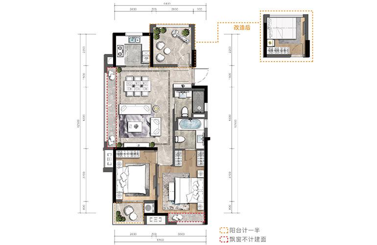金湾宝龙城 D户型 3室2厅2卫1厨 建筑面积96㎡