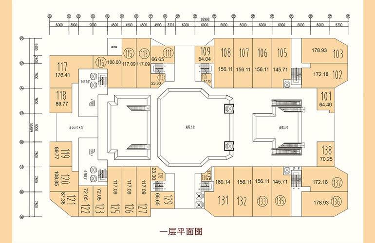 福安新福城商业街 商铺平面分布图