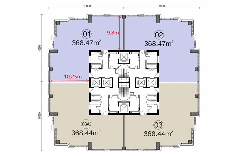 富力首府 43-55层| 高区平面图