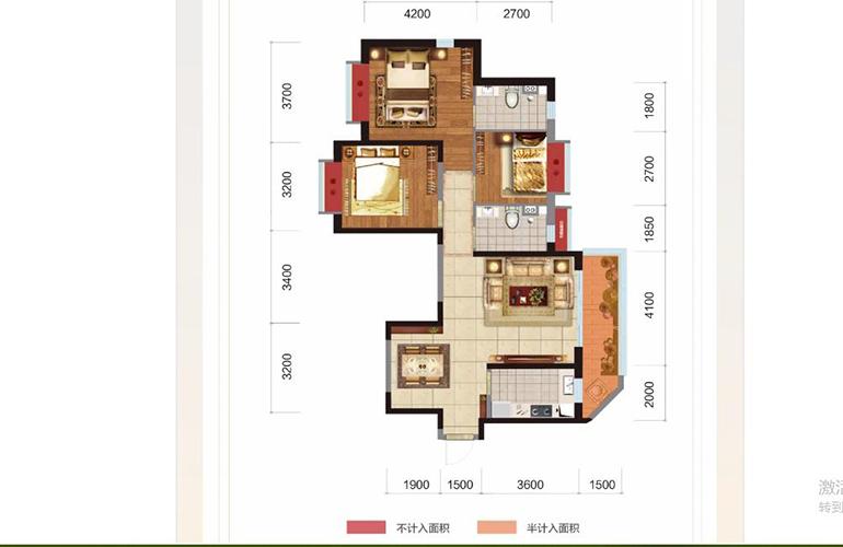 恒大玖珑湾 加推户型 三室两厅两卫一厨 建筑面积113㎡