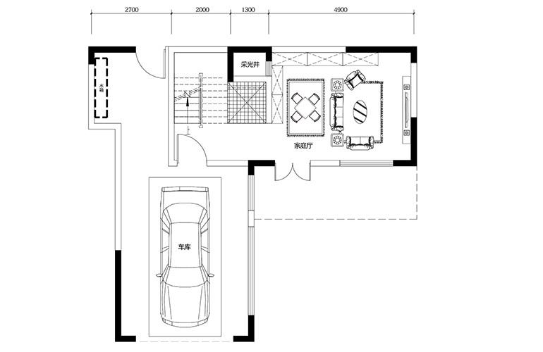 鸿基云玺台 B1户型一层 别墅户型 建筑面积220-250㎡