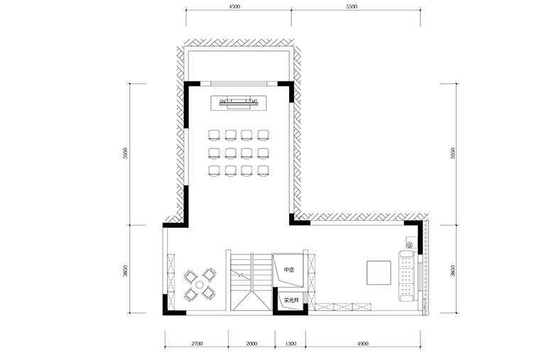 鸿基云玺台 B2户型负一层 别墅户型 建筑面积270-275㎡