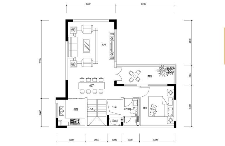 鸿基云玺台 B4户型二层 别墅户型 建筑面积275-285㎡