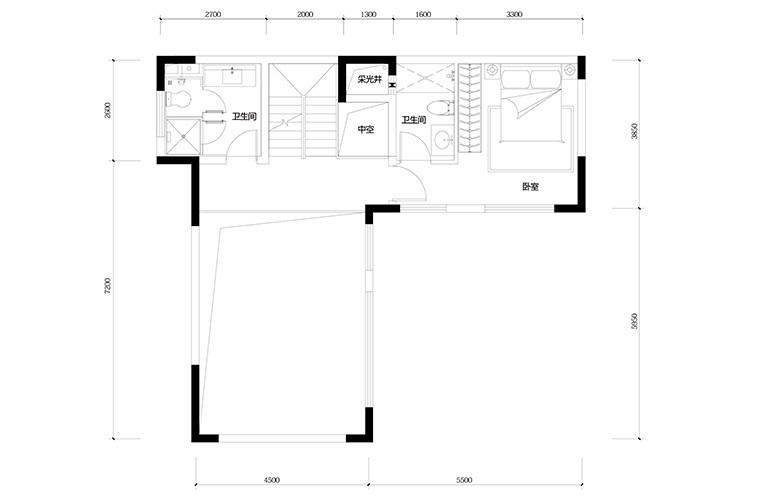 鸿基云玺台 B8户型三层 别墅户型 建筑面积220-250㎡
