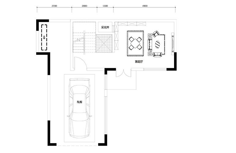 鸿基云玺台 B8户型一层 别墅户型 建筑面积220-250㎡