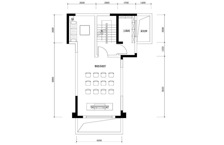 鸿基云玺台 D3户型负一层 别墅户型 建筑面积209㎡