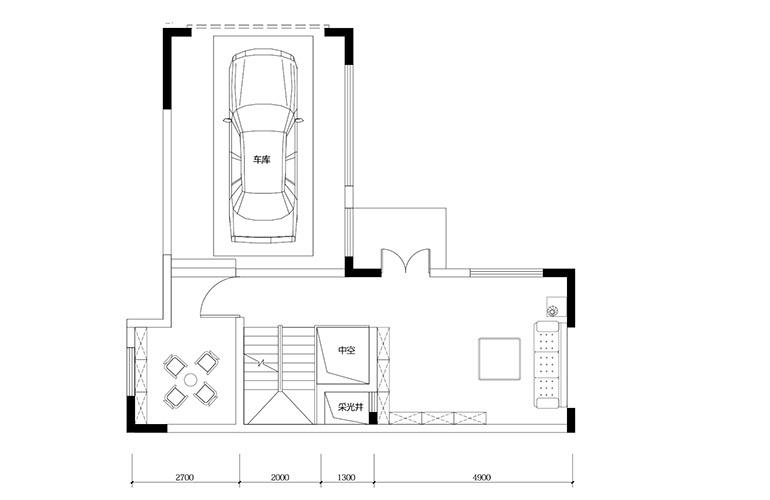 鸿基云玺台 B4户型一层 别墅户型 建筑面积275-285㎡