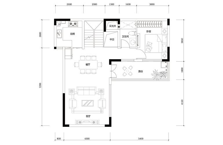 鸿基云玺台 C6户型二层 别墅户型 建筑面积221-258㎡