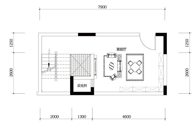鸿基云玺台 C2户型负二层 别墅户型 建筑面积250-255㎡