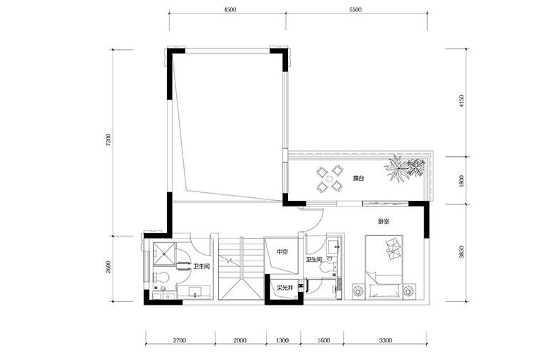 鸿基云玺台 B5户型二层 别墅户型 建筑面积210-250㎡