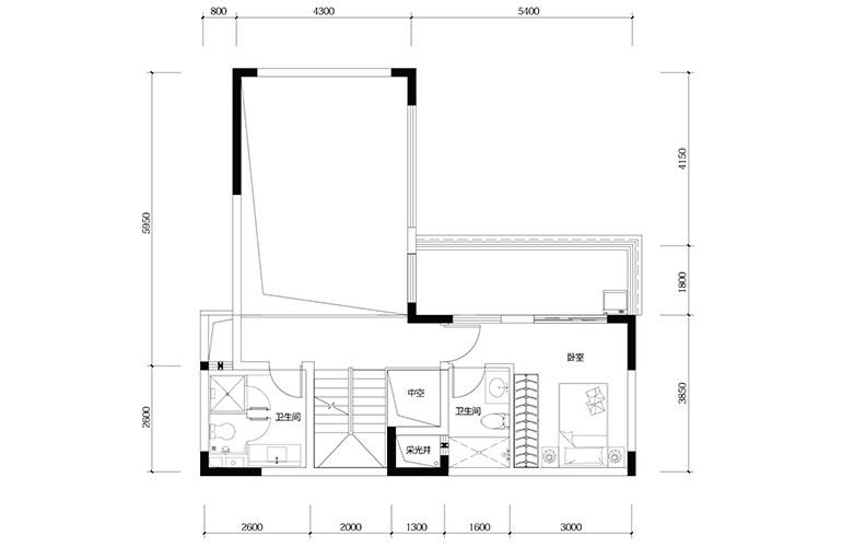 鸿基云玺台 C5户型二层 别墅户型 建筑面积219㎡