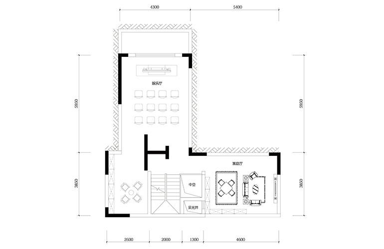 鸿基云玺台 C2户型负一层 别墅户型 建筑面积250-255㎡