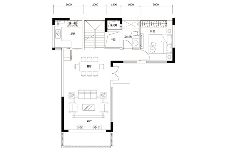 鸿基云玺台 C3户型一层 别墅户型 建筑面积220-260㎡