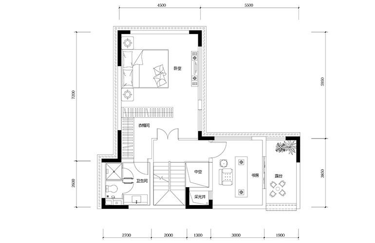 鸿基云玺台 B5户型三层 别墅户型 建筑面积210-250㎡