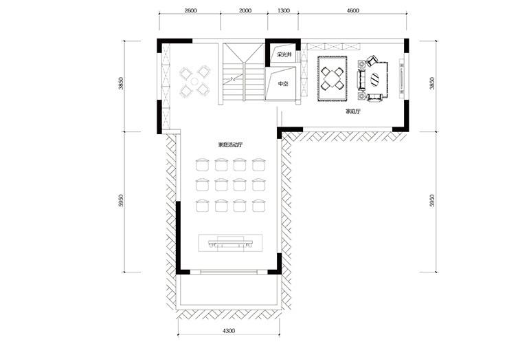 鸿基云玺台 C3户型负一层 别墅户型 建筑面积220-260㎡