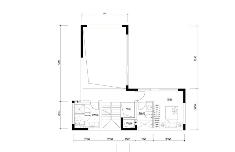 鸿基云玺台 C4户型三层 别墅户型 建筑面积250-260㎡