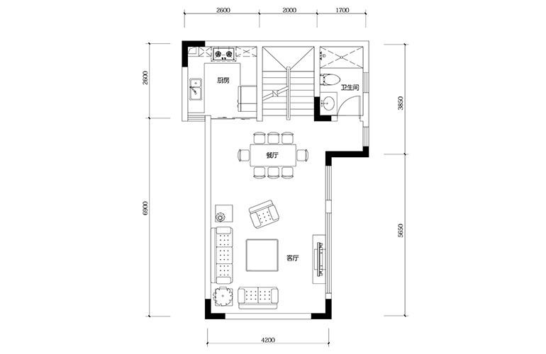 鸿基云玺台 D4户型二层 别墅户型 建筑面积193㎡