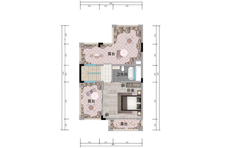 浩创悦山湖 别墅125㎡户型三层 4室3厅4卫1厨 建筑面积125㎡