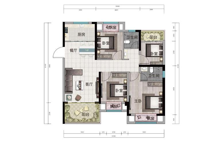 浩创悦山湖 A1户型 4室2厅2卫1厨 建筑面积98㎡