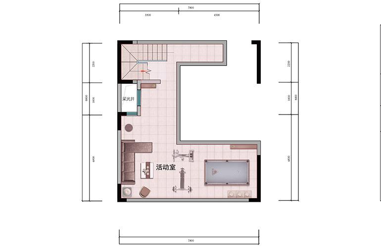 浩创悦山湖 别墅150㎡户型一层 6室2厅4卫1厨 建筑面积150㎡