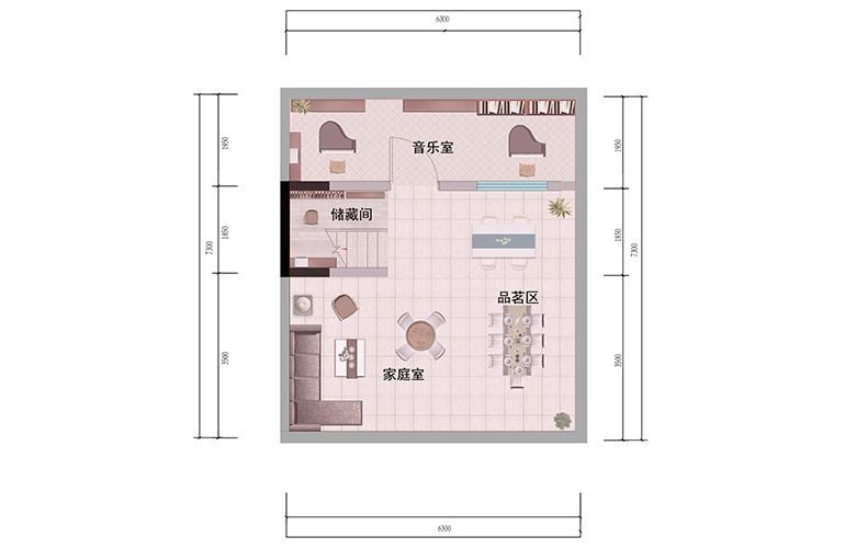 浩创悦山湖 别墅98㎡户型地下一层 3室3厅3卫1厨 建筑面积98㎡