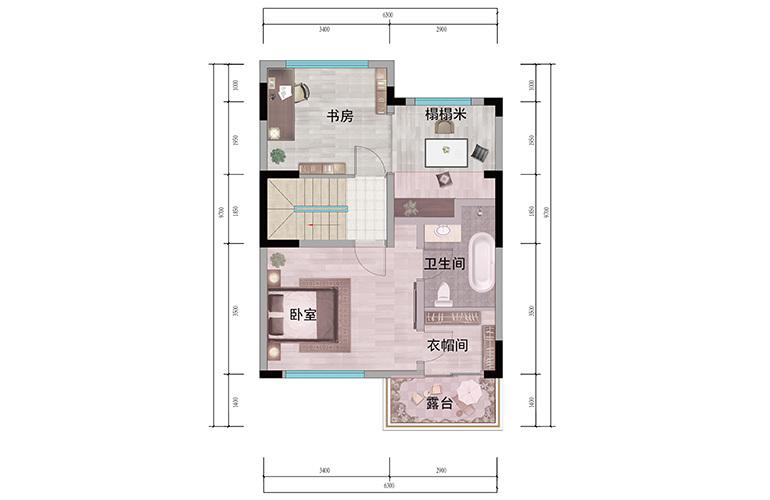 浩创悦山湖 别墅98㎡户型二层 3室3厅3卫1厨 建筑面积98㎡