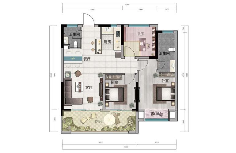 浩创悦山湖 B1户型 3室2厅2卫1厨 建筑面积78㎡