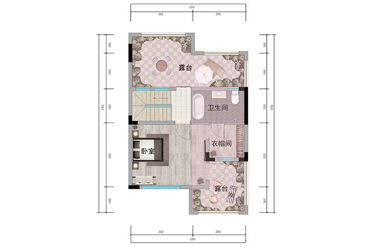 浩创悦山湖 别墅98㎡户型三层 3室3厅3卫1厨 建筑面积98㎡