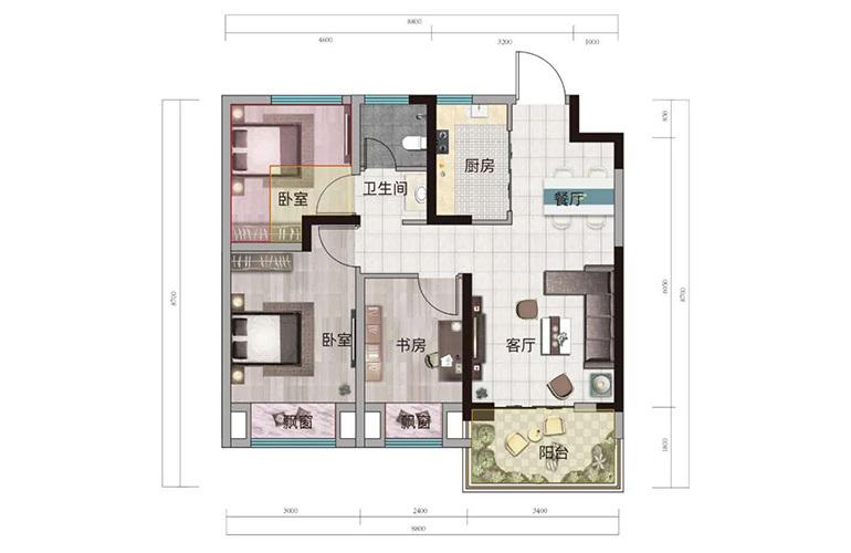 浩创悦山湖 B2户型 3室2厅1卫1厨 建筑面积68㎡