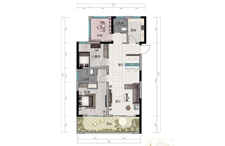 浩创悦山湖 A2户型 3室2厅2卫1厨 建筑面积88㎡