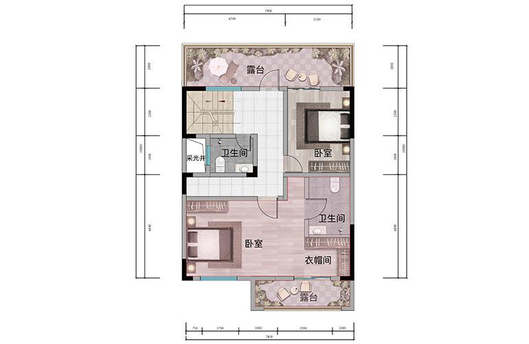 浩创悦山湖 别墅150㎡户型二层 6室2厅4卫1厨 建筑面积150㎡