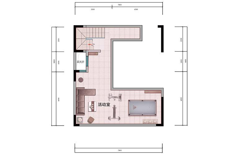 浩创悦山湖 别墅150㎡户型负一层 6室2厅4卫1厨 建筑面积150㎡