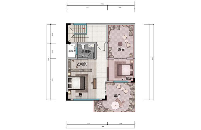 浩创悦山湖 别墅150㎡户型三层 6室2厅4卫1厨 建筑面积150㎡